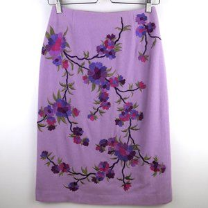 Floral Embroidered Wool Pencil Skirt XS